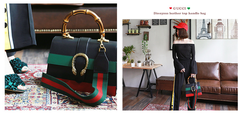 精品穿搭♥Gucci-Dionysus leather top handle bag !!